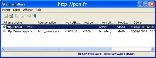 ChromePass - afficher les mots de passe des adresses visitées